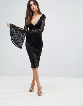 photo Lace Scallop Detail Midi Dress with Flute Sleeve Detail by Club L, color Black - Image 1