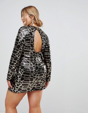 photo High Neck Leaf Sequin Mini Dress by Club L Plus, color Black And Gold - Image 2