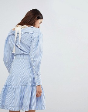 photo Rebekka Corseted Shirt Dress by To Be Adored, color Blue Stripe - Image 2