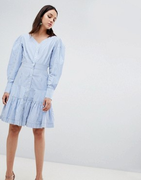 photo Rebekka Corseted Shirt Dress by To Be Adored, color Blue Stripe - Image 1