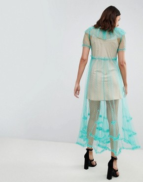 photo Dilone A-Line Mesh Dress by To Be Adored, color Mint - Image 2