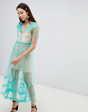 photo Dilone A-Line Mesh Dress by To Be Adored, color Mint - Image 1