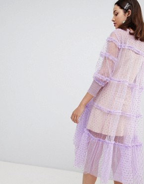 photo Israela Ruffle Mesh Dress by To Be Adored, color Baby Pink - Image 2