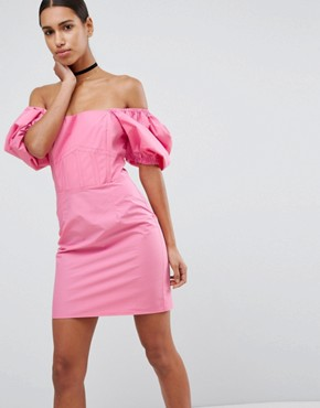photo Off Shoulder Puff Sleeve Mini Dress by ASOS, color Hot Pink - Image 1