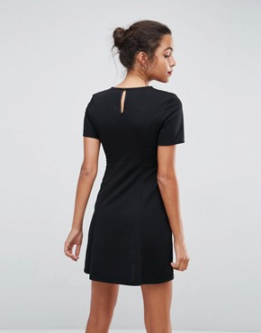 photo Lace Insert Mini Skater Dress with Corset by ASOS, color Black - Image 2