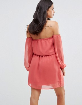 photo Off Shoulder Dress by Glamorous, color Dusty Pink - Image 2