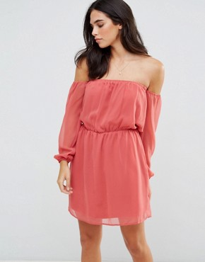 photo Off Shoulder Dress by Glamorous, color Dusty Pink - Image 1