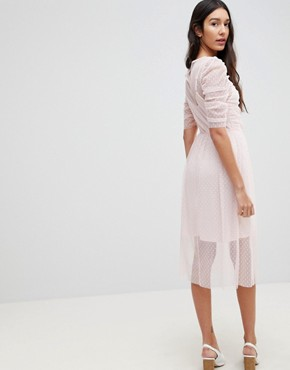 photo Ruched Midi Dress in Spot Mesh by ASOS TALL, color Blush - Image 2