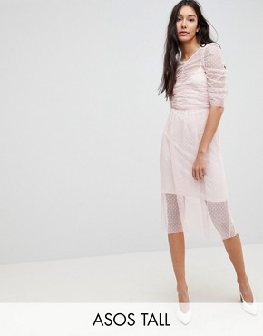 photo Ruched Midi Dress in Spot Mesh by ASOS TALL, color Blush - Image 1