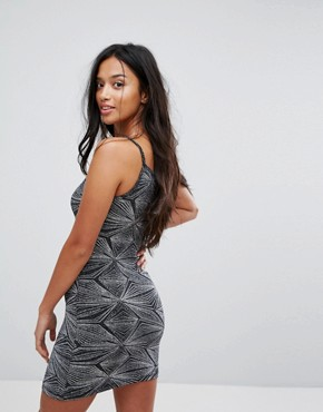 photo Zig Zag Dress by Glamorous Petite, color Silver Abstract Lure - Image 2
