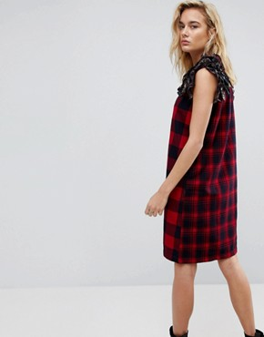 photo Ruffle Sleeve Check Dress by Diesel, color Multi - Image 2