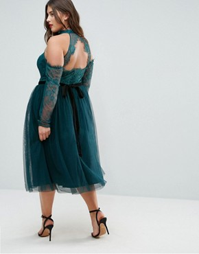 photo Tulle Cold Shoulder Midi Prom Dress by ASOS CURVE PREMIUM, color Forest Green - Image 2