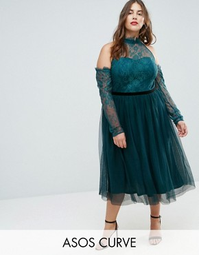 photo Tulle Cold Shoulder Midi Prom Dress by ASOS CURVE PREMIUM, color Forest Green - Image 1