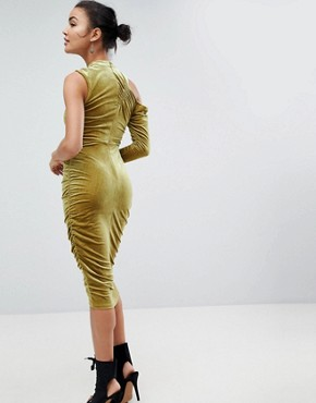 photo High Neck Ruched Velvet Midi Bodycon Dress by ASOS, color Chartreuse - Image 2