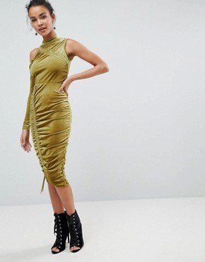 photo High Neck Ruched Velvet Midi Bodycon Dress by ASOS, color Chartreuse - Image 1