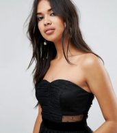 photo Bandeau Dobby Tiered Mesh Midi Prom Dress by ASOS, color Black - Image 3