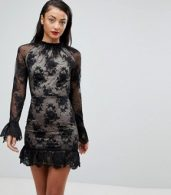 photo High Neck Open Back Lace Mini Dress by ASOS TALL, color Black - Image 2