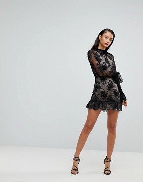 photo High Neck Open Back Lace Mini Dress by ASOS TALL, color Black - Image 4