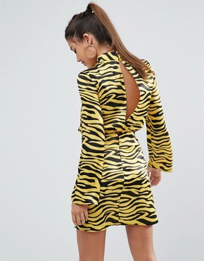 photo Zebra Print High Neck Belted Mini Dress by ASOS, color Multi - Image 2