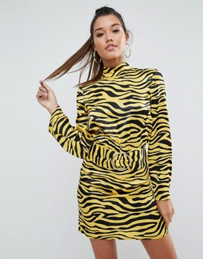 photo Zebra Print High Neck Belted Mini Dress by ASOS, color Multi - Image 1