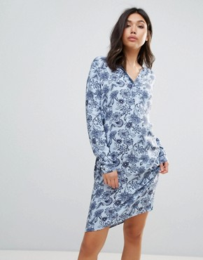 photo Printed Shirt Dress by Ichi, color Skyway - Image 1