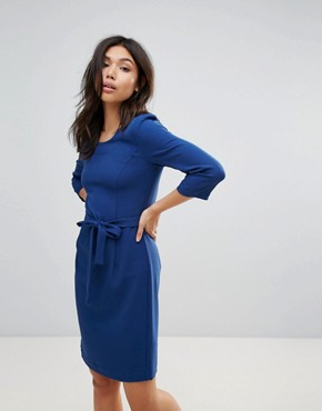 photo Waist Tie Dress by Ichi, color Estate Blue - Image 1