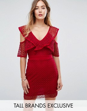 photo Lace Sleeve Detail Mini Dress by Missguided Tall, color Red - Image 1