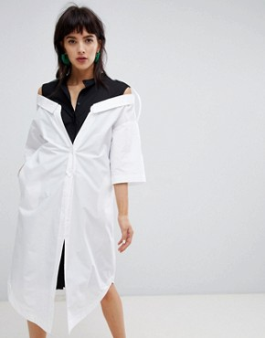 photo Mixed Stripe Drop Shoulder Shirt Dress by ASOS WHITE, color Multi - Image 1