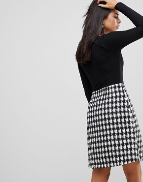 photo 2-In-1 Midi Dress with Checked Skirt by Traffic People, color Black - Image 2