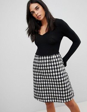 photo 2-In-1 Midi Dress with Checked Skirt by Traffic People, color Black - Image 1