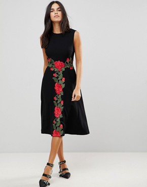 photo Midi Dress with Rose Applique by Traffic People, color Black - Image 1