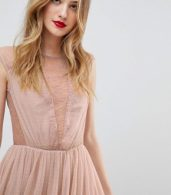 photo Lace Insert T-shirt Midi Dress by ASOS TALL, color Mink - Image 3