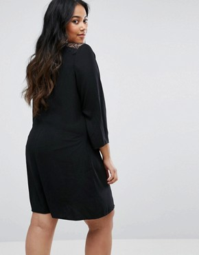 photo Swing Dress with Lace Insert and Flare Sleeves by Yumi Plus, color Black - Image 2