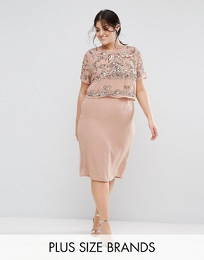 photo Double Layer Embellished Shift Dress by Lovedrobe Luxe Plus, color Mauve - Image 1