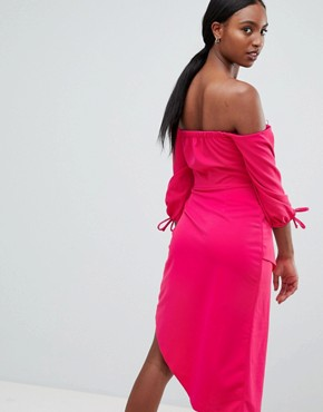 photo Bardot Midi Dress with Tiered Wrap Skirt by ASOS TALL, color Hot Pink - Image 2