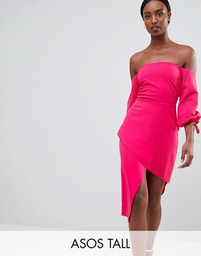 photo Bardot Midi Dress with Tiered Wrap Skirt by ASOS TALL, color Hot Pink - Image 1