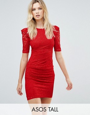 photo Lace V-Back Bodycon Mini Dress with Shoulder Ruffle by ASOS TALL, color Red - Image 1