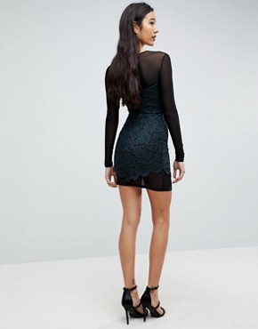 photo Lace & Mesh Bodycon Mini Dress by ASOS TALL, color Khaki/Black - Image 2