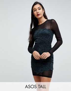 photo Lace & Mesh Bodycon Mini Dress by ASOS TALL, color Khaki/Black - Image 1