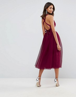 photo Lace Top Tulle Midi Prom Dress with Ribbon Ties by ASOS TALL PREMIUM, color Fuchsia - Image 2