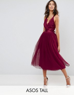 photo Lace Top Tulle Midi Prom Dress with Ribbon Ties by ASOS TALL PREMIUM, color Fuchsia - Image 1
