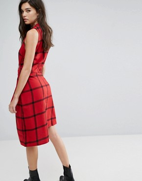 photo Rizzle Tie Waist Check Dress by Cheap Monday, color Deep Red - Image 2