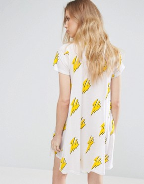 photo Bolts Mystic T-Shirt Dress by Cheap Monday, color White - Image 2