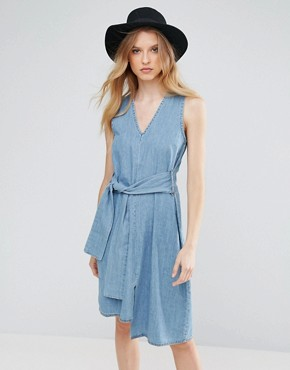 photo Rizzle Denim Tie Waist Dress by Cheap Monday, color Fans Blue - Image 1
