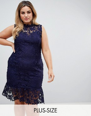photo High Neck Lace Dress with Pephem by Paper Dolls Plus, color Navy - Image 1