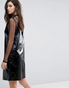 photo Fad Leatherette Slip Dress by Cheap Monday, color Black - Image 2