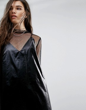 photo Fad Leatherette Slip Dress by Cheap Monday, color Black - Image 3