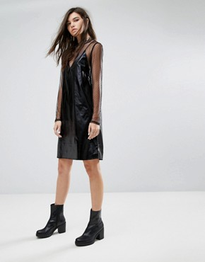 photo Fad Leatherette Slip Dress by Cheap Monday, color Black - Image 4