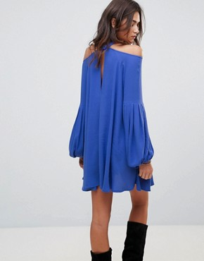 photo Drift Away Shift Dress by Free People, color Blue - Image 2