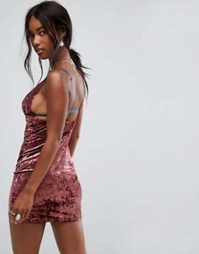 photo Viper Velvet Bodycon Dress by Free People, color Raspberry - Image 2